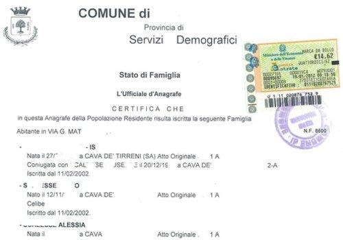Richiesta del certificato di stato di famiglia storico for Fac simile autocertificazione per detrazione materasso