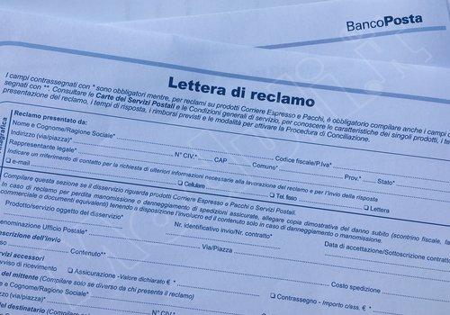 Modulo reclamo poste italiane for Lettera di incarico prestazione servizi